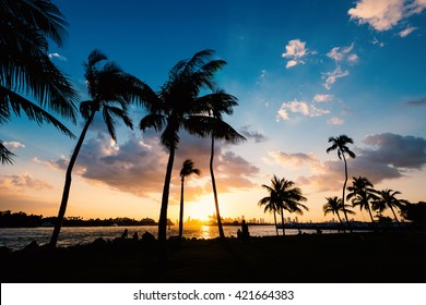 Sunset scene over South Pointe Park in Miami bay at sunset. Florida, USA.