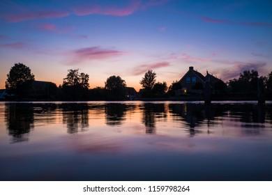 Sunset scene in rural Holland