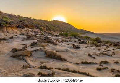 Sunset scene taken at Fossil park, Dholavira, Kutch, Gujarat, India