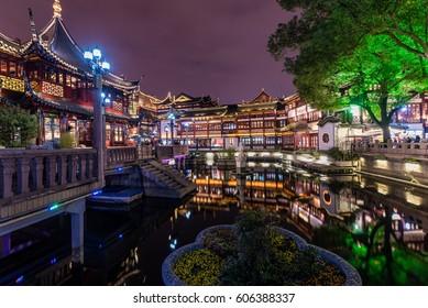 sunset scene of traditional buildings at Yuyuan garden, Shanghai