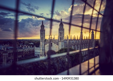Sunset scenery of Cambridge city in England viewed from the church tower