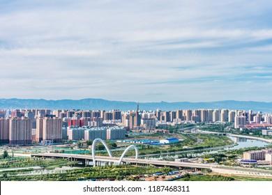 Sunset scenery of Hohhot City Bridge, Inner Mongolia, China