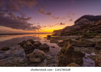Sunset scenery at Melasti Beach, Ungasan, Bali, Indonesia