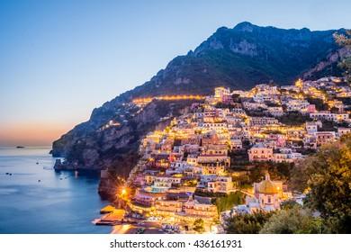 Sunset scenery  of Positano village at Amalfi Coast, Campania, Italy.