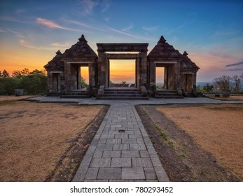 Sunset scenery at Ratu Boko Temple, Yogyakarta, Indonesia.