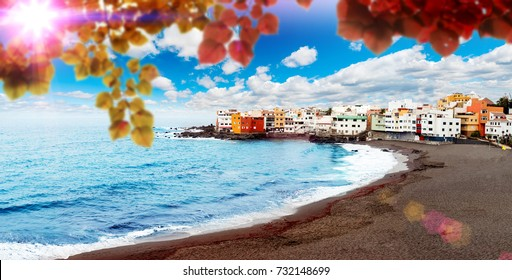 Sunset scenery Spain sea and island .Beach adventures and travel concept.Puerto de la cruz. Scenic landscape in Canary island. Tenerife.