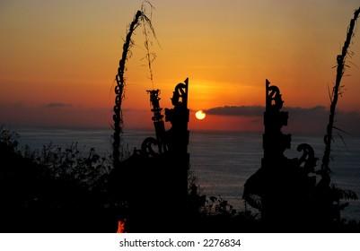 Sunset scenery in Uluwatu Temple, Bali Indonesia