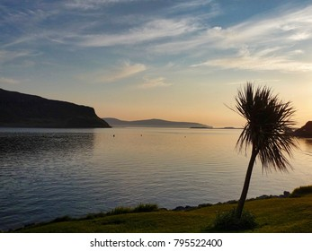 Sunset in Scotland across the water