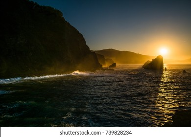 A sunset in the sea.