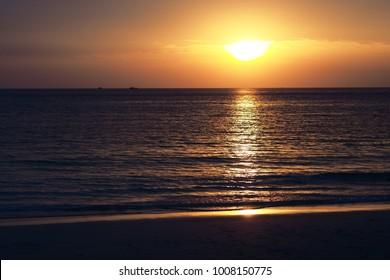 Sunset  sea beach