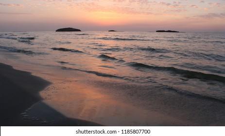 Sunset in the sea, beach, ocean, islands, cluds, sky
