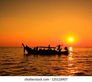 Sunset sea and boat Koh Phi Phi Island thailand