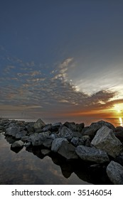 Sunset at a sea dike in Flevoland (Holland)
