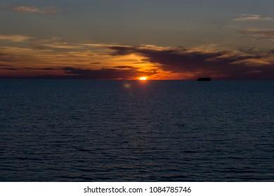 Sunset sea horizon landscape
