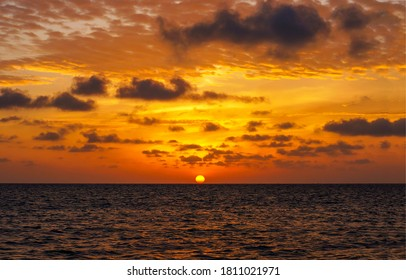 Sunset sea horizon landscape. Sunset horizon view. Sunset over sea horizon. Sea sky horizon sunset landscape