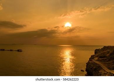 Sunset Sea at Ko Si Chang  Chonburi, Thailand