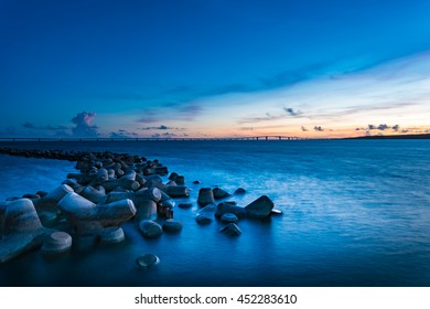 Sunset, sea, landscape, seascape. Okinawa, Japan, Asia.