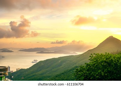 Sunset sea and mountains