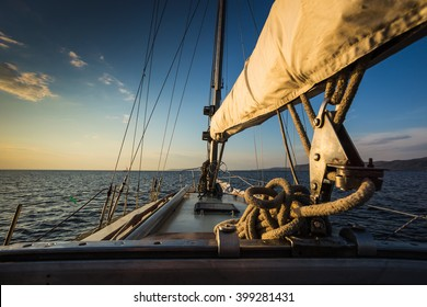 sunset at sea on aboard the Yacht Sailing