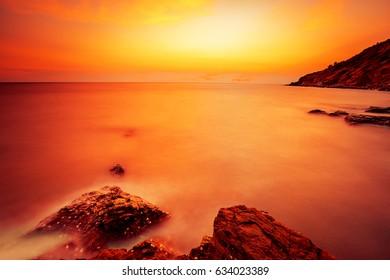 Sunset at the sea, Rayong, Thailand.