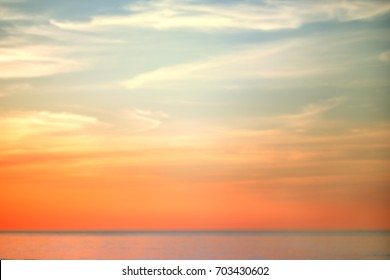 Sunset at the sea soft focus background