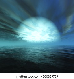 sunset at sea. Star rising over the water. 3d rendering.