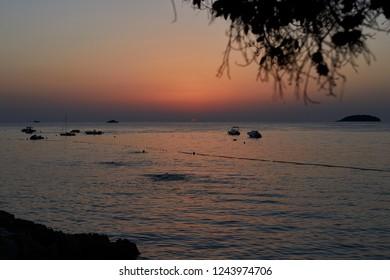 Sunset at the sea in Vrsar, Croatia.