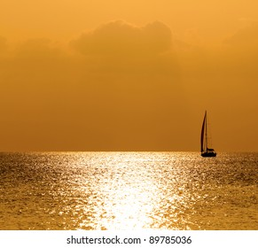 Sunset sea and yacht
