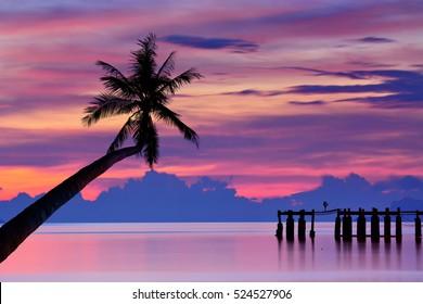 Sunset seascape, ko samui, thailand.