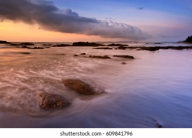 Sunset seascape at Kudat Sabah Malaysia. Image may contain soft focus and blur due to long exposure.