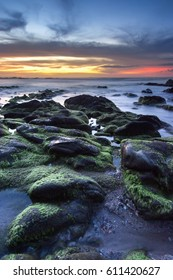 sunset seascape at Kudat Sabah Malaysia. Image contain soft focus and blur due to long exposure.
