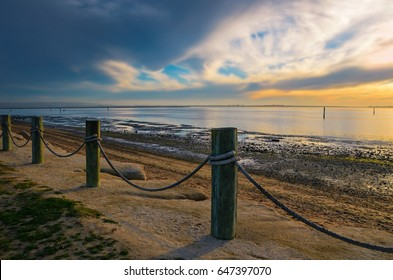 Sunset seascape with panoramic view of San Diego Bay as seen from Chula Vista Bayside Park, in Southern California.