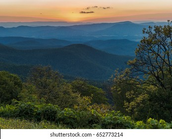 Sunset as seen from the Appalachian Mountains in Virginia along the Blue Ridge Parkway in George Washington and Jefferson National Forest
