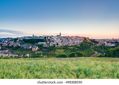 Sunset as seen from Le Monastere in Rodez, Aveyron department of Midi Pyrenees, France