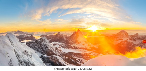 Sunset seen from Margherita Cabin at Monte rosa with a beautiful panoramic view over the Matterhorn