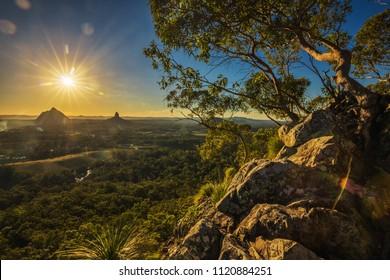 Sunset seen from Mount Tibrogargan, Glass House Mountains, Sunshine Coast, Queensland, Australia