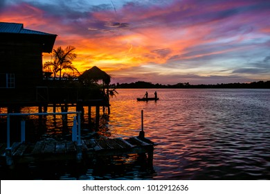 Sunset seen from a pier in Bocas del Toro, Panama.