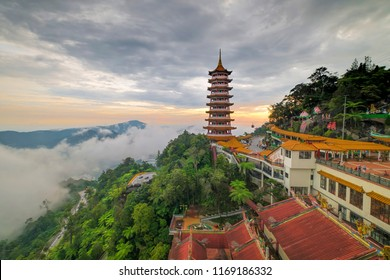 Sunset senery of Pagoda of the Chin Swee Caves Temple at Genting Highland. a famous public tourism spot in Malaysia. Chin Swee Caves Temple is a taoist temple