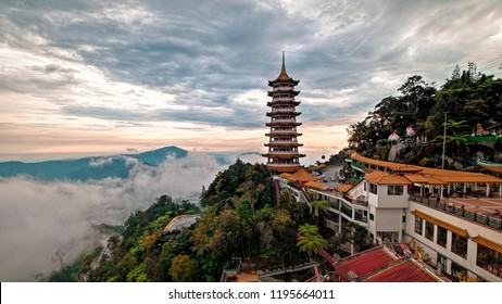Sunset senery of Pagoda at the Chin Swee Caves Temple at Genting Highland. A famous public tourism spot in Malaysia. Chin Swee Caves Temple is a taoist temple