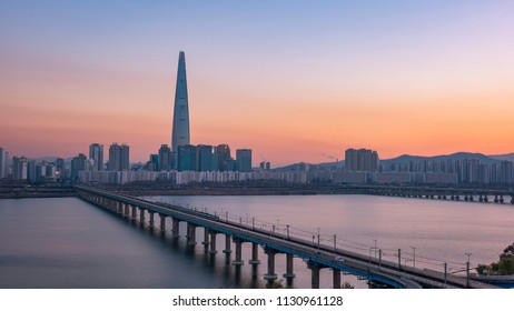 Sunset of Seoul City and Lotte Tower, South Korea.