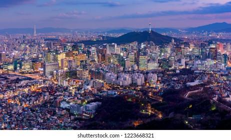 Sunset of Seoul City Skyline,South Korea
