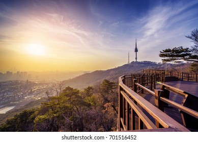 Sunset in seoul city with seoul tower at namsan public park.