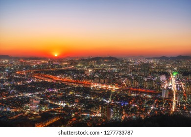Sunset of Seoul city view from yongma mountain at South Korea.