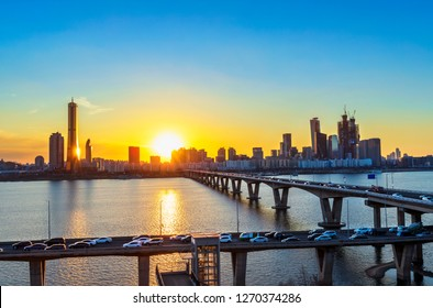 Sunset of Seoul downtown , 63 Building and hangang river best view landmark and traffic  in Seoul,South Korea