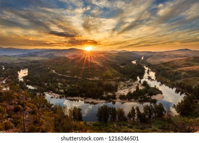 Sunset at the Shepherds View Lookout near Canberra overlooking the Murrumbidgee River.