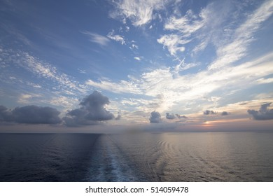 Sunset from a ship Mediterranean sea