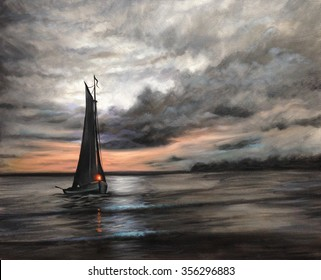 sunset ship oil painting
