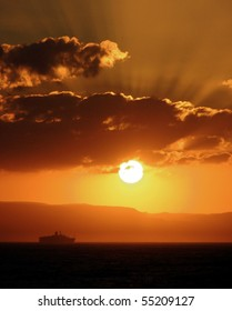 Sunset Ship Vertical