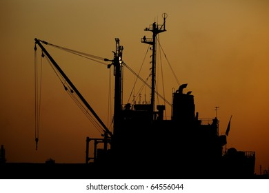 sunset and ships in the harbor