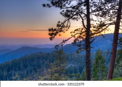 Sunset in Sierra Nevada, California.